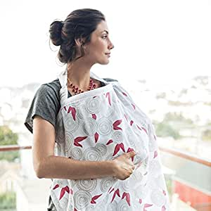 Bebe Au Lait Nursing Essentials - Cotton Muslin, Fiori, 10 x 5.375 x 1.5
