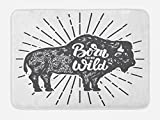 Lunarable Wild and Free Bath Mat, Ethnic Bison with Grunge Effect Born to be Wild Quote Native America, Plush Bathroom Decor Mat with Non Slip Backing, 29.5 W X 17.5 W Inches, Charcoal Grey White
