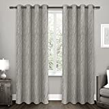 Cheap Exclusive Home Forest Hill Woven Window Curtain Panel Pair with Grommet Top 52×84 Ash Grey 2 Piece