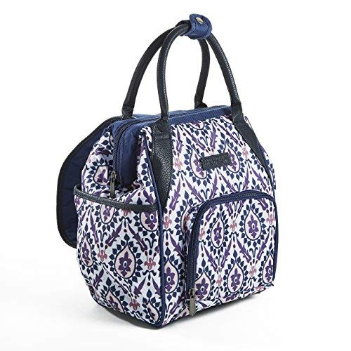 Fit & Fresh Piper Small Backpack Lunch Bag, Insulated Daypack for Travel, Hiking, Commuting, Women, Girls, Floral Damask Purple