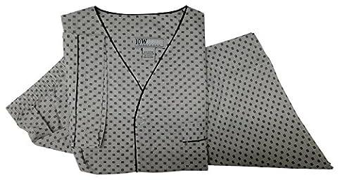 Ten West apparel mens cotton yarn dyed short sleeve short leg printed pajamas set Grey-Square-Large - Dyed Cotton Short