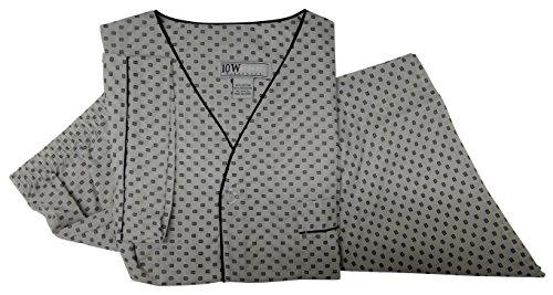 Ten West apparel mens cotton yarn dyed short sleeve short leg printed pajamas set Grey-Square-Large -