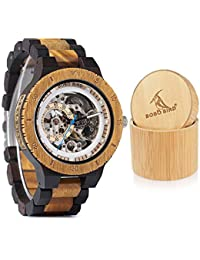 Mens Wooden Mechanical Watches Luxury Lightweight Large Size Watch for Men with Gife Box