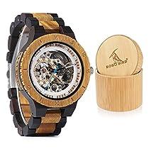 BOBO BIRD Mens Wooden Watches Luxury Mechanical Watch Lightweight Wood Band Timepieces forMen