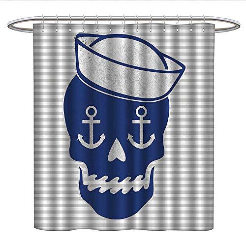 Anniutwo Navy Skullsfunny Shower curtainSailor Cap Skull Bones Anchor Gray Striped Dia De Los Muertos ThemePlastic Shower curtainPattern Blue ()
