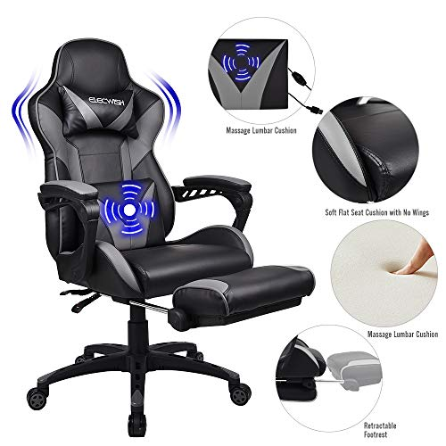FULLWATT Lumber Massage Gaming Chair with Footrest Ergonomic High Back Pu Leather Bucket Seat,Racing Gamer Chair Video Game Chairs 150 Degree Adjustable Swivel Executive Computer Gaming Chairs (Grey)