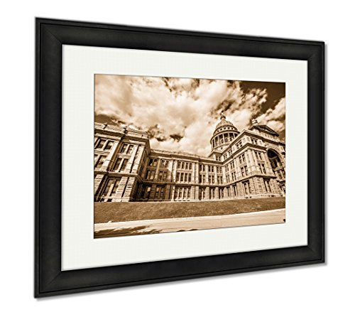 Ashley Framed Prints Austin Texas City And State Capitol Building, Wall Art Home Decoration, Sepia, 26x30 (frame size), Black Frame, - Tx Austin Malls