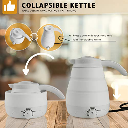 Electric Kettle, 2019 Upgrade 110V/220V Collapsible Travel Accessories for Fast Heating Hot Water, Coffee and Tea, 0.6L Food Grade Silicone Portable Temperature Control Water Boiler (Best Fast Food Coffee 2019)