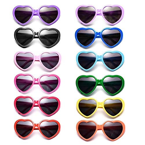 Dozen Pack Kids Heart Sunglasses Party Favor Supplies Holiday Accessories -