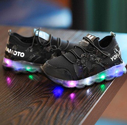 Chickwin Bébé Sneakers Led 17 Bébé Lumineuse À Rose Clignotant Unisexe Confortable mesure 28 Noir Chaussures Enfant L'intérieur cm r1q8IEwxr