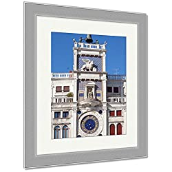 Ashley Framed Prints Clock Tower San Marcos Square Venice Italy, Wall Art Home Decoration, Color, 30x26 (frame size), Silver Frame, AG5478097