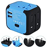 Universal Travel Adapter, International Power Adapter with 2.4A Dual USB Ports Worldwide AC Wall Outlet and Safety Fuse for Europe, UK, AU, Asia & US (Blue)