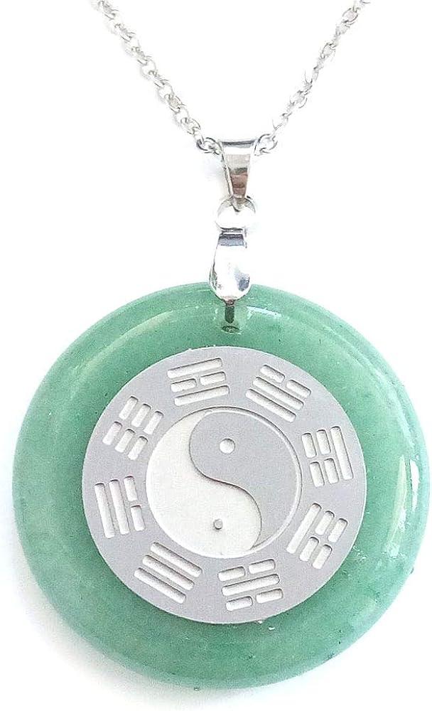 ARITZI - Colgante Redondo de Piedra Natural con símbolo de Yin & Yang en Acero - Incluye una Cadena de Eslabones de 50cm de Acero - Distintas Piedras semipreciosas