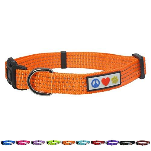 Pawtitas Stitching Dog Collar Puppy Collar Orange Collar Reflective Dog Collar Extra Small Dog Collar Orange Dog Collar