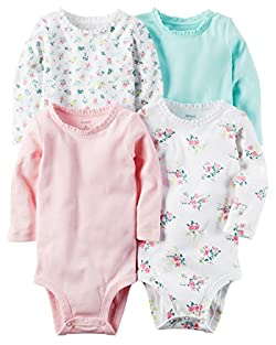 Carter's Baby Girls' 4-Pack Floral Bodysuits 3 Months