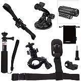 Luxebell 6-in-1 Accessories Kit for Contour Roam Roam2 Roam3 +2 +Plus Hd 1080p Waterproof Video Camera, Helmet Mount / Bike Handlebar Mount / Monopod Pole / Shoulder Strap / Suction Cup
