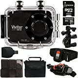 Vivitar DVR-786HD Black 5.1MP Action Camcorder 1.8'' Touch Screen + 32GB MicroSD Memory Card + Card Holder + Reader + Case