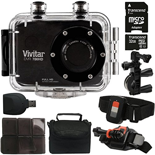 Vivitar DVR-786HD Black 5.1MP Action Camcorder 1.8'' Touch Screen + 32GB MicroSD Memory Card + Card Holder + Reader + Case by Teds