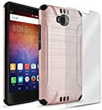 Huawei ASCEND XT Case, Bastex Hybrid Slim Fit Black Rubber Silicone Cover Hard Plastic Rose Gold Brushed Metal Design Case with Screen Protector for Huawei ASCEND XT (H1611)