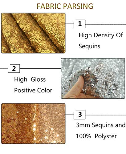 Gold Sequin Fabric 30FT 10 Yards Baby Shower Decorations in Shiny Gold Sparkly Fabric for Sewing ~0818S by ShiDianYi (Image #5)