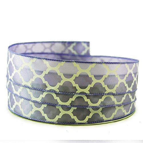 Moroccan Print Light Purple and White Satin Wired Ribbon #9