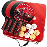 Full Ping Pong Paddle Set - 4 Table Tennis Paddles - 8 Ping Pong Balls - Storage Case - Pro/Rec Game