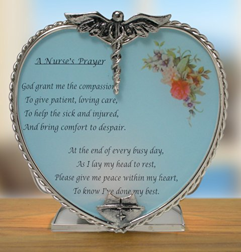 Nurse's Prayer Candle Holder Pewter Heart Shape with Touching Saying - Metal & Glass - 4 Inch