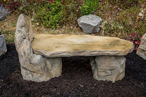 garden bench basalt stone boulder bench with back cast