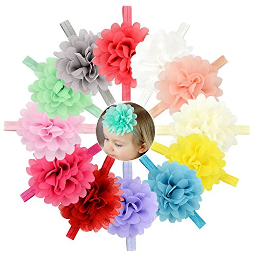 Baby Girls Big Headbands Chiffon Hair Bows Lace Band for Newborns infants 16 or 12 PCS (584-12PCS) (Boutique Ribbon Flower Bow Headband)