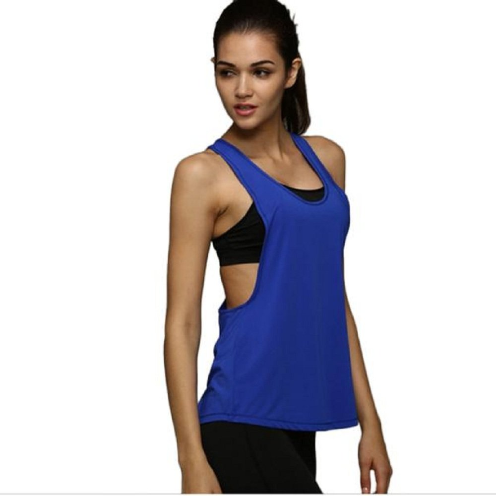 Gooldu Women Summer Sexy Loose Gym Sport Vest Training Run Tops Tank Shirt Blouse Blue