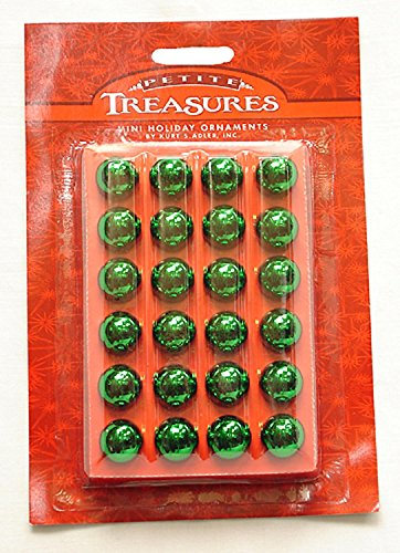 Glass Balls Christmas Ornaments - 24ct Petite Treasures Shiny Green Mini Glass Ball Christmas Ornaments .6