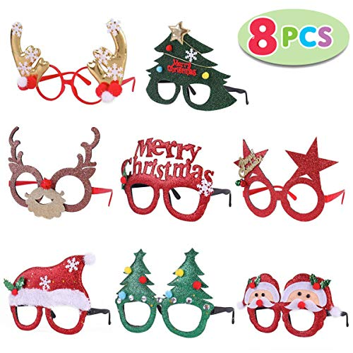 Pack of 8 Christmas Party Fancy Glasses Frames with 8 Designs Christmas Parties and Photo booth(ONE SIZE FIT ALL) ()