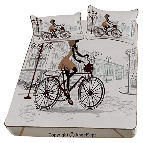 Homenon Teen Room Decor,Summer Cooling Mat 3D Printing Foldable Folding Summer Ice Silk Cover Cool Mat with Pillowcase(King) Young Girl in Paris Streets with Bike French Display Decorative