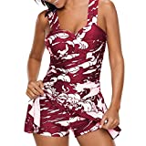 Rambling Women's High Waist Conservative Leaves Printed Swimdress Ruched Cover up Swimsuit Plus Size Swimwear S-5XL