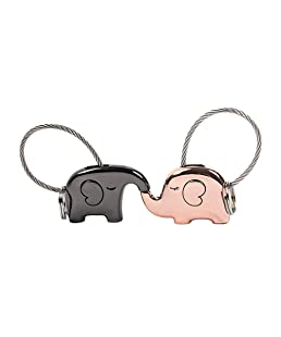 VORCOOL 2pcs Lovely Elephant Key Ring Kissing Animal Couple Keychain with Metal Wire Rope (Black and Rose Gold)