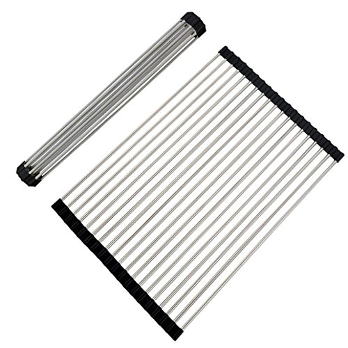 VAPSINT Brushed Nickel Stainless Steel Folding Black Roll Up