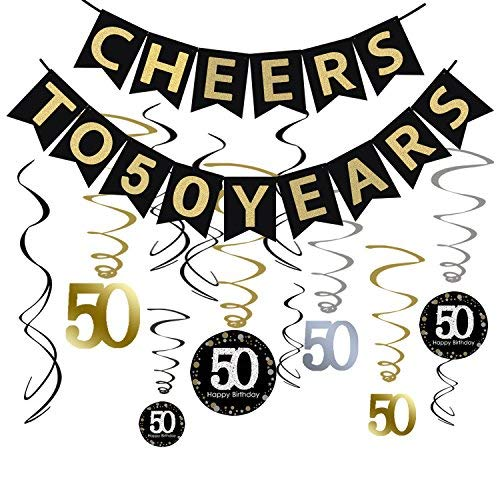 Tuoyi 50th Birthday Party Decorations KIT - Cheers to 50 Years Banner, Sparkling Celebration 50 Hanging Swirls, Perfect 50 Years Old Party Supplies 50th Anniversary Decorations -