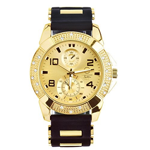 Men's Fashion Hip Hop Bling Iced Out Gold Plated Black Silicon Band Watch WR 8485 GBK by Techno Pave (Image #1)