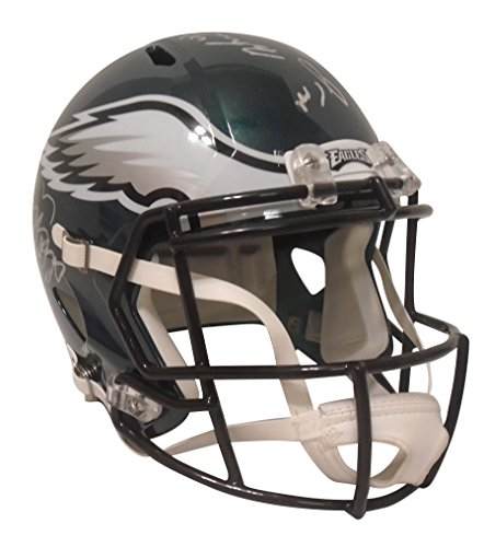 Super Bowl 2017 Philadelphia Eagles Team Autographed Hand Signed Riddell Full Size Football Helmet with 16 Signatures Total and Proof Photos of Signing, COA, Alshon Jeffery, Corey Clement, Brent Celek (Signed Phillies Philadelphia Hand)