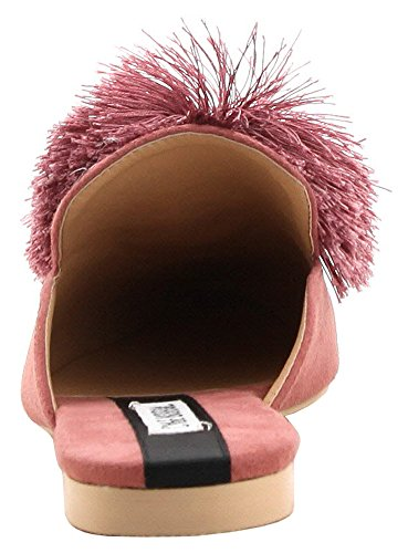 Cape Robbin Dames Pom Pom Spitse Neus Backless Instappers Slipper Loafer Mule Mauve