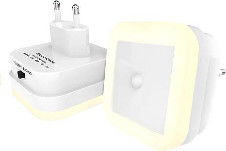 Luz nocturna LED con detector de movimiento – Juego de 2 luces LED de bajo consumo y sensor de brillo, 3 modos (ON/OFF/AUTO) lámpara con detector de movimiento interior: Amazon.es: Iluminación