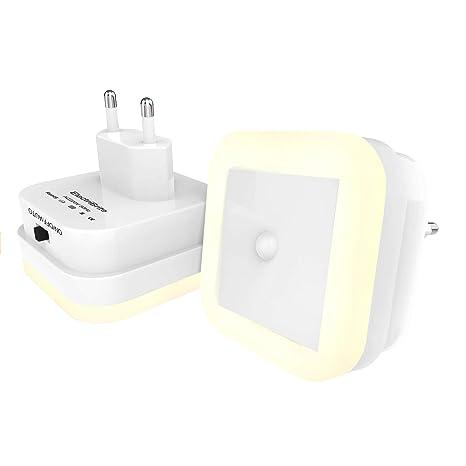 Luz nocturna LED con detector de movimiento – Juego de 2 luces LED de bajo consumo