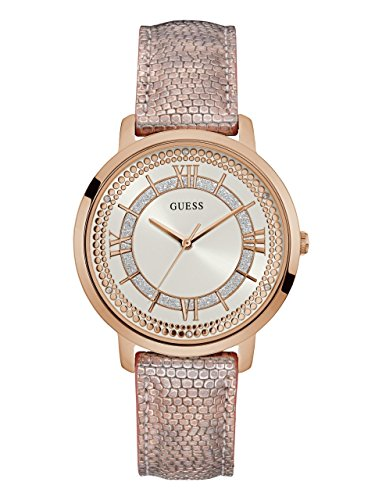 Guess Pink Leather Strap - Guess Women's Stainless Steel Textured Leather Strap Crystal Accented Watch, Color Pink Metallic/Rose Gold-Tone (Model: U0934L5)