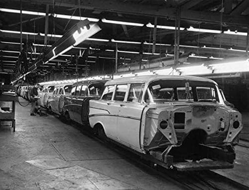 1957 Chevrolet Station Wagon Plant Production Line Picture on Mouse Pad Mousepad Classic Vintage Old Cars Hot Rods Speed Computer Desktop Supplies ()