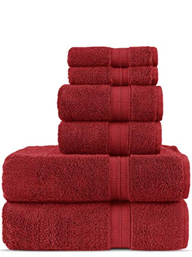 Luxury Premium Turkish Cotton 6-Piece Towel Set, Long-Stable 20/2, 2 Ply Turkish Ring-Spun Cotton Yarn Makes The Luxe-Factor, Eco-Friendly, (Cranberry)