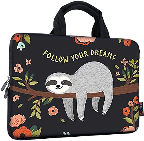 ICOLOR 11 11.6 12 12.1 12.5 inch Laptop Carrying Bag Chromebook Case Notebook Ultrabook Bag Tablet Cover Neoprene Laptop Sleeve case chromebook Sleeve with Handle Kids Boys Girls Sloth