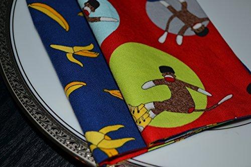 Bananas and Sock Monkeys Reversible Cloth Napkins/Set of 4