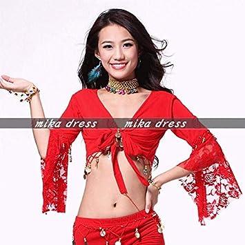 a9850268ea97d 赤 レッド 大きいサイズ ボレロ 2XLサイズ ベリーダンス 衣装 練習着 レッスン着 レッスンウェア