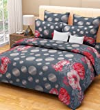 Home Candy 144 TC Floral Cotton Kids Double Bedsheet with 2 Pillow Covers - Grey (CTN-BST-315)