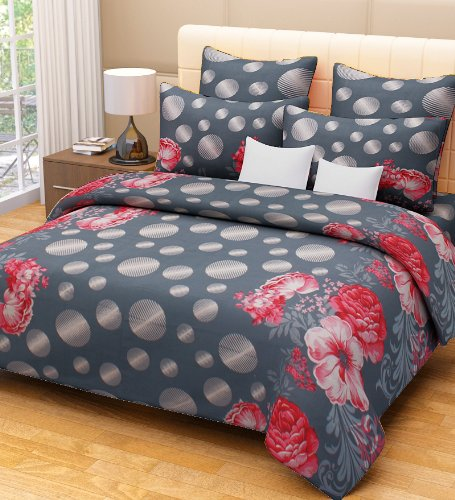 Home Candy 144 TC Floral Cotton Kids Double Bedsheet with 2 Pillow Covers – Grey (CTN-BST-315)